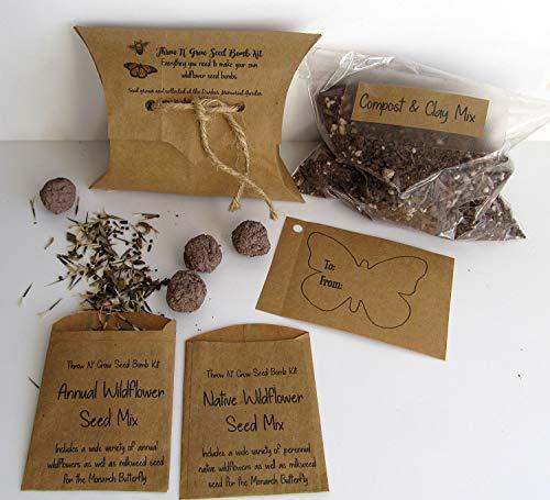 Wildflower Seed Bombs Kit/DIY Seed Bomb Making/Craft Kits for Kids/Kids Gardening Set/Gardener's Gift/Butterfly Garden Kit/Seeds from Little Yellow Bird Studio