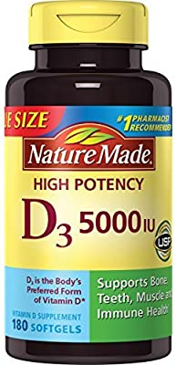 Nature Made Extra Strength Vitamin D 125 mcg (5000 IU) Softgels, 180 Count Value Size for Bone Health (Packaging May Vary)
