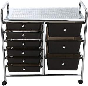 Mind Reader Storage Drawer Rolling Utility Cart, 9 Drawer Organizer, Black