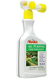 Organic Fish Emulsion Plant Fertilizer 32oz 2 Pack by ALASKA. Low-Odor & Burn-Free. Ready to Use: Just Connect to Your Hose to Fertilize Your Garden. 2-2-2 Mix of Nitrogen, Phosphorous & Potassium.