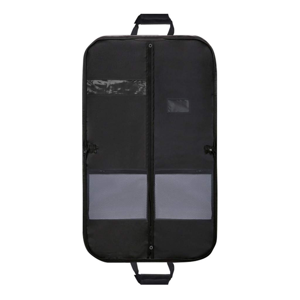 Garment Bag for Travel and Storage, Gunel Breathable Suit Dress Black Garment Cover Gusseted with Clear Window and One Zipped Pockets (Black) by Gunel home