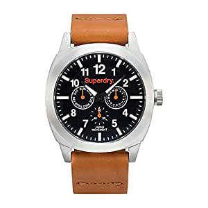 Superdry Thor Men's Black Dial Leather Band Watch - SYG104BB