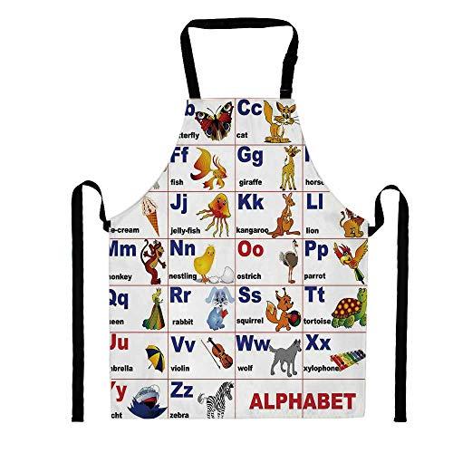 (YOLIYANA Animals Placed on Letter of The Alphabet Teachers Chart Classroom Kindergarten,Unisex Kitchen Bib Apron with Adjustable Neck for Cooking Baking Gardening, Multicolor)