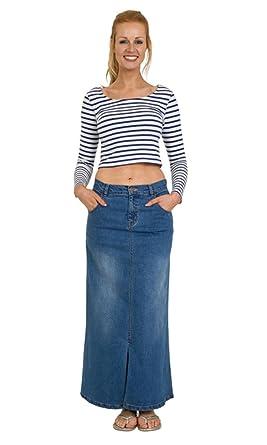 a3f22edc7 USKEES Fearne Long Denim Skirt - Palewash Front Split Maxi Skirt Size 8-22  Blue