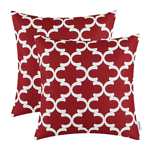 Pack of 2 CaliTime Throw Pillow Covers Cases for Couch Sofa Home Decor, Modern Quatrefoil Accent Geometric, 18 X 18 Inches, Burgundy (Couches For Cheap Under $100 Sale)