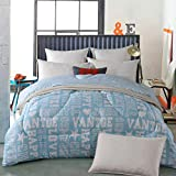 Polyester bed/bedding Warmth Full/Queen/Full/Twin Size Comforter Duvet Insert,Hypoallergenic Box Stitched,Printing Duvet Core,Blue Time,150×200cm (1.5Kg)