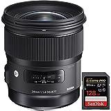 Sigma 24mm f/1.4 DG HSM Wide Angle Lens (Art) for Nikon DSLR Camera Mount (401-306) + Sandisk Extreme PRO SDXC 128GB UHS-1 Memory Card
