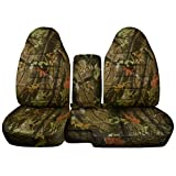 1991 to 1997 Ford Ranger/Explorer Camo Truck/SUV Seat Covers (60/40 Split Bench) with Center Armrest/Console Cover: Brown Real Tree Camo (16 Prints Available)