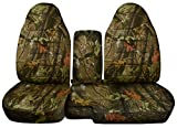 2004-2012 Ford Ranger/Mazda B-Series Camo Truck Seat Covers (60/40 Split Bench) with Center Armrest/Console Cover: Brown Real Tree Camouflage (16 Prints) 2005 2006 2007 2008 2009 2010 2011