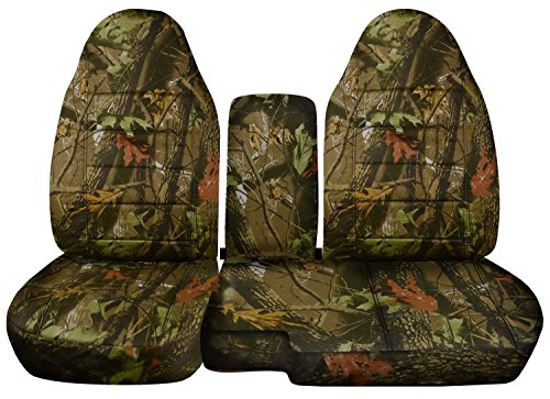 (1998-2003 Ford Ranger/Mazda B-Series Camo Truck Seat Covers (60/40 Split Bench) w Center Console/Armrest Cover: Brown Real Tree Camouflage 1999 2000 2001 2002 w/wo Cup)