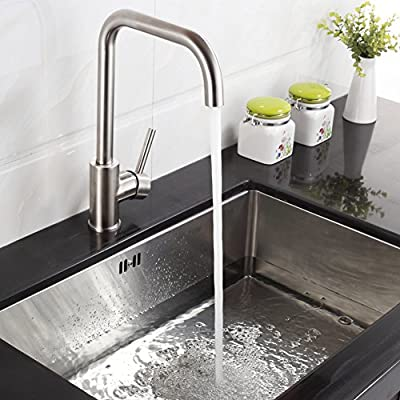 FLG Contemporary Single Handle Stainless Steel Kitchen Bar Sink Faucet, Brushed Nickel