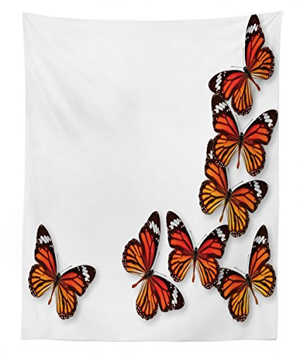 Ambesonne Butterflies Tapestry Twin Size, Monarch Butterfly Figures Flying Frame Insect Exotic Weather, Wall Hanging Bedspread Bed Cover Wall Decor, 68 W X 88 L inches, Dark Brown Marigold -