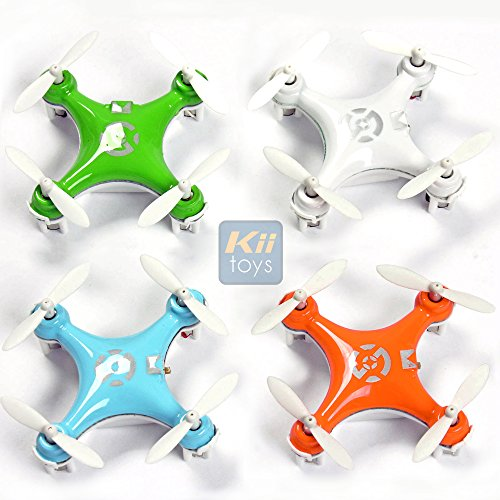 "KiiToys Quadcopter Drone RC Helicopter Quad Copter Toy - Family Pack of 4 - Fly all 4 together - Micro Mini Nano Size - 3D Flip Air Light Show - 6 Axis Gyro - 4 Channels Radio Control - 2.4 ghz 100 ft range - ""Smallest QuadCopter in the world"" with KiiToys Warranty + Tech Support (Pack of 4 included Color: Orange, Green, Blue, White)"
