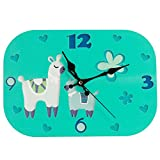 Wood Wall Clock, Silent Non-ticking Decorative Cartoon Wall Clock, Imaginative Style Good for Living Room/School/Children's room, Gifts For Child Birthday (Alpaca-76N)