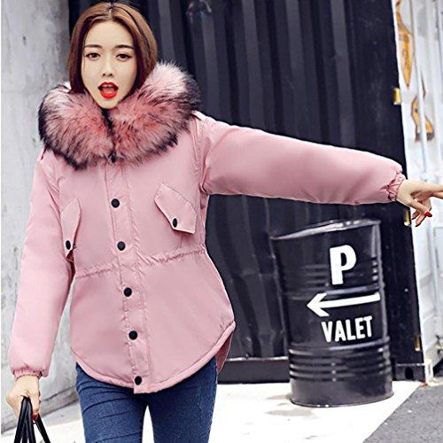 cotone cotone giacca moda invernale Rosa colletto colletto colletto Donne Donna pelliccia di spesso cotone invernale imbottito Rcool ultra caldo Cappotto qZ61aPZ