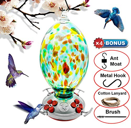 - REZIPO Hummingbird Feeder with Perch - Hand Blown Glass - Green - 40 Fluid Ounces Hummingbird Nectar Capacity Include Hanging Wires and Moat Hook