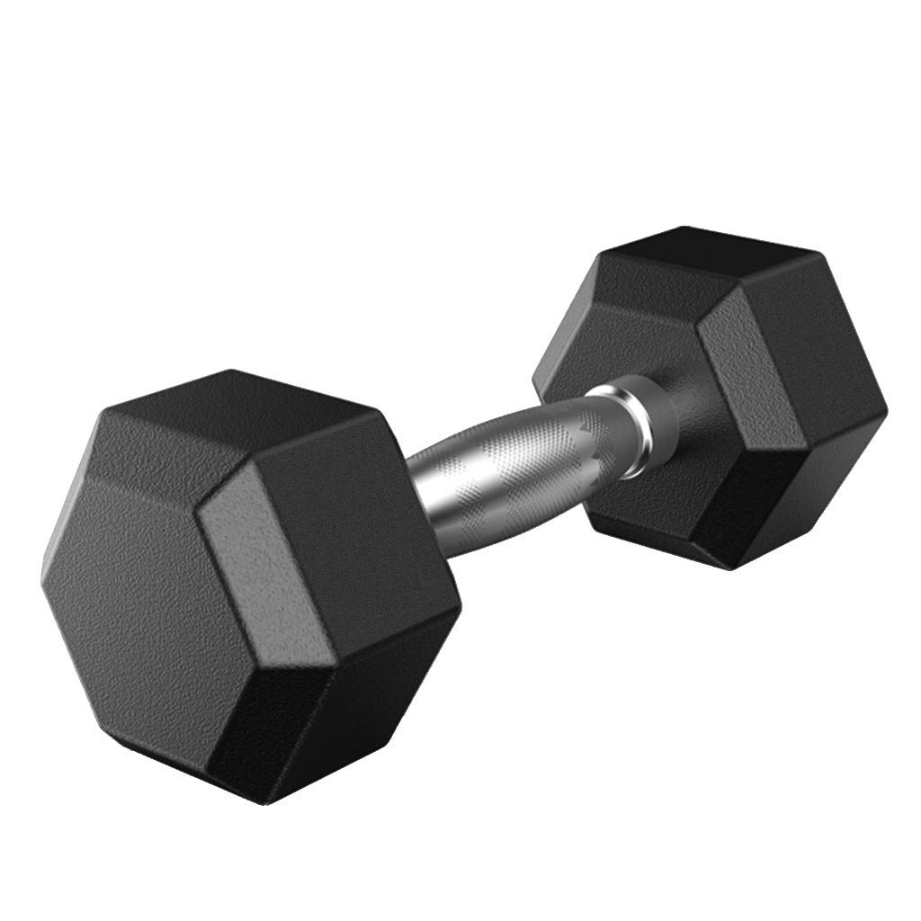 Rubber Hex Dumbbells - 5 Sizes Available, 5-50 Pounds - Shaped Heads to Prevent Rolling and Injury - Ergonomic Hand Weights for Exercise, Therapy, Building Muscle by Aimik (D:1PC 30LB)