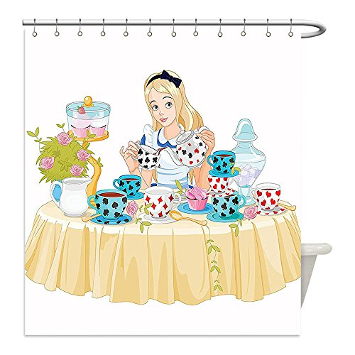 Pottery Barn Kids Cupcake Costumes (Liguo88 Custom Waterproof Bathroom Shower Curtain Polyester Alice in Wonderland Decorations Collection Alice Pours Cup of Tea Eats Cupcakes Flowers Pottery Wonderland Fantasy Multi Decorative bathroo)