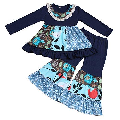 Yawoo Haan Baby Girls Designer 2PCS Ruffle Dress Pants Clothes Set B 6-7T Dark Blue -