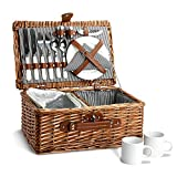 Picnic Basket for 2, Willow Hamper Set with Insulated Compartment, Handmade Large Wicker Picnic Basket Set with Utensils Cutlery - Perfect for Picnicking, Camping, or any Other Outdoor Event