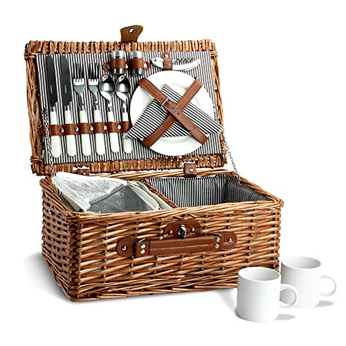Picnic Basket for 2, Willow Hamper Set with Insulated Compartment, Handmade Large Wicker Picnic Basket Set with Utensils Cutlery - Perfect for Picnicking, Camping, or any Other Outdoor Event (Two Basket Picnic Sets For)