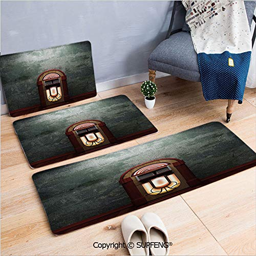 (Bathroom Rug Carpet Jukebox,Scary Movie Theme Old Abandoned Home with Antique Old Music Box Image,Petrol Green and Brown Machine Wash and Dry )