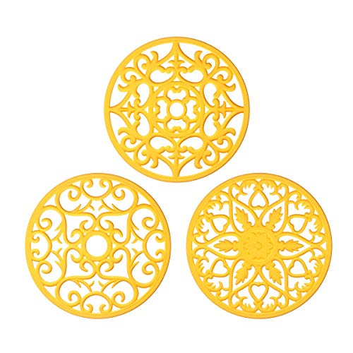 ME.FAN 3 Set Silicone Multi-Use Intricately Carved Trivet Mat - Insulated Flexible Durable Non Slip Coasters (Yellow) - Cast Iron Trivet Set