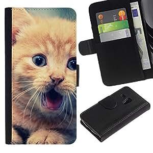 NEECELL GIFT forCITY // Billetera de cuero Caso Cubierta de protección Carcasa / Leather Wallet Case for Samsung Galaxy S3 MINI 8190 // Lindo Gatito anaranjado