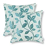 CaliTime Pack of 2 Soft Throw Pillow Covers Cases Couch Sofa Home Decoration Cute Growing Leaves 18 X 18 inches Teal
