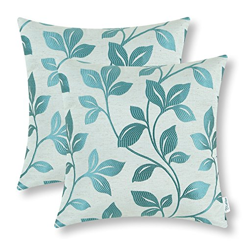 CaliTime Pack of 2 Soft Throw Pillow Covers Cases for Couch Sofa Home Decoration Cute Growing Leaves 18 X 18 Inches Teal