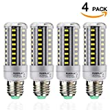 100 watt corn cob led - 4-Pack 12W LED Corn Light Bulb - E26/E27 LED Corn Bulb (80-100W Equivalent) Daylight White 6000K 1205Lm Applicable for Indoor Home Garage Warehouse High Bay Barn Porch Backyard Garden Lighting