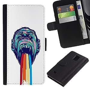 LASTONE PHONE CASE / Lujo Billetera de Cuero Caso del tirón Titular de la tarjeta Flip Carcasa Funda para Samsung Galaxy Note 4 SM-N910 / Rainbow Puke Gorilla