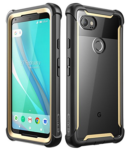 (Google Pixel 2 XL case, i-Blason [Ares] Full-Body Rugged Clear Bumper Case with Built-in Screen Protector for Google Pixel 2 XL 2017 Release (Black/Gold))