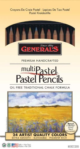 Generals G4401-24A Pastel Chalk Pencil Set of 24 by Generals by Alvin and Company