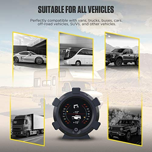 Updated GPS Speedometer Satellite Positioning Car Heads Up Display Off-Road Vehicle Pitch Angle Alarm Altimeter Slope Meter Speedometer for Car Over-Speed Alarm Heads Up Display for Cars Date,Clock