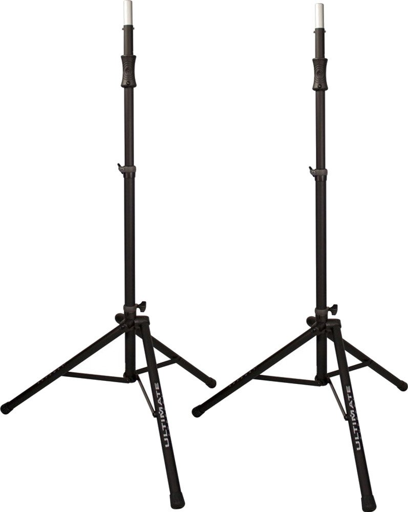 Pair of Ultimate Support TS-100B Air Powered Lift Assist Tripod Speaker Stands