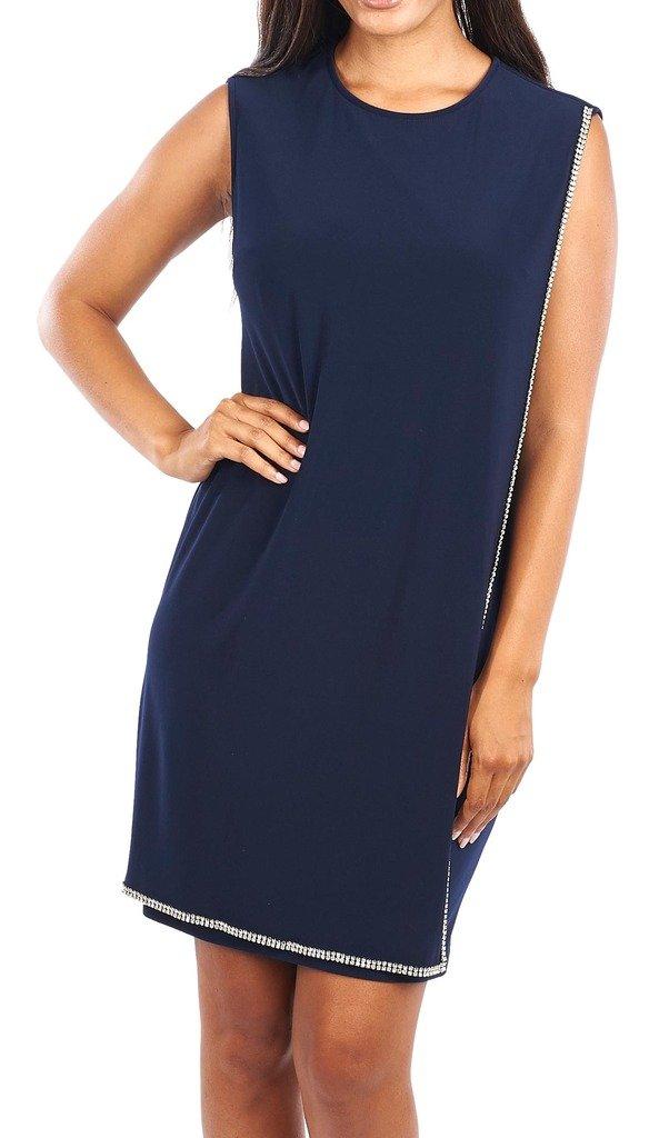 Joseph Ribkoff Midnight Blue Overlay Dress + Jeweled Hemline Style 163022 - Size 10