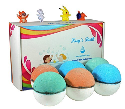 Price comparison product image Pokemon Bath Bombs for Kids with Surprise Toy Inside, Pokebomb Gift Set - Lush Shea Butter - Fizzies for Bath Time Fun - For Girls and Boys Free Pokemon Card Included (6 Pack - Colorful)