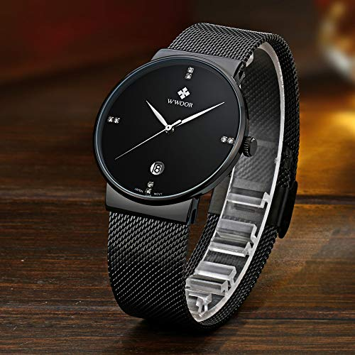 Mens Watch Ultra Thin Wrist Watches for Men Fashion Waterproof Dress Stainless Steel Band …