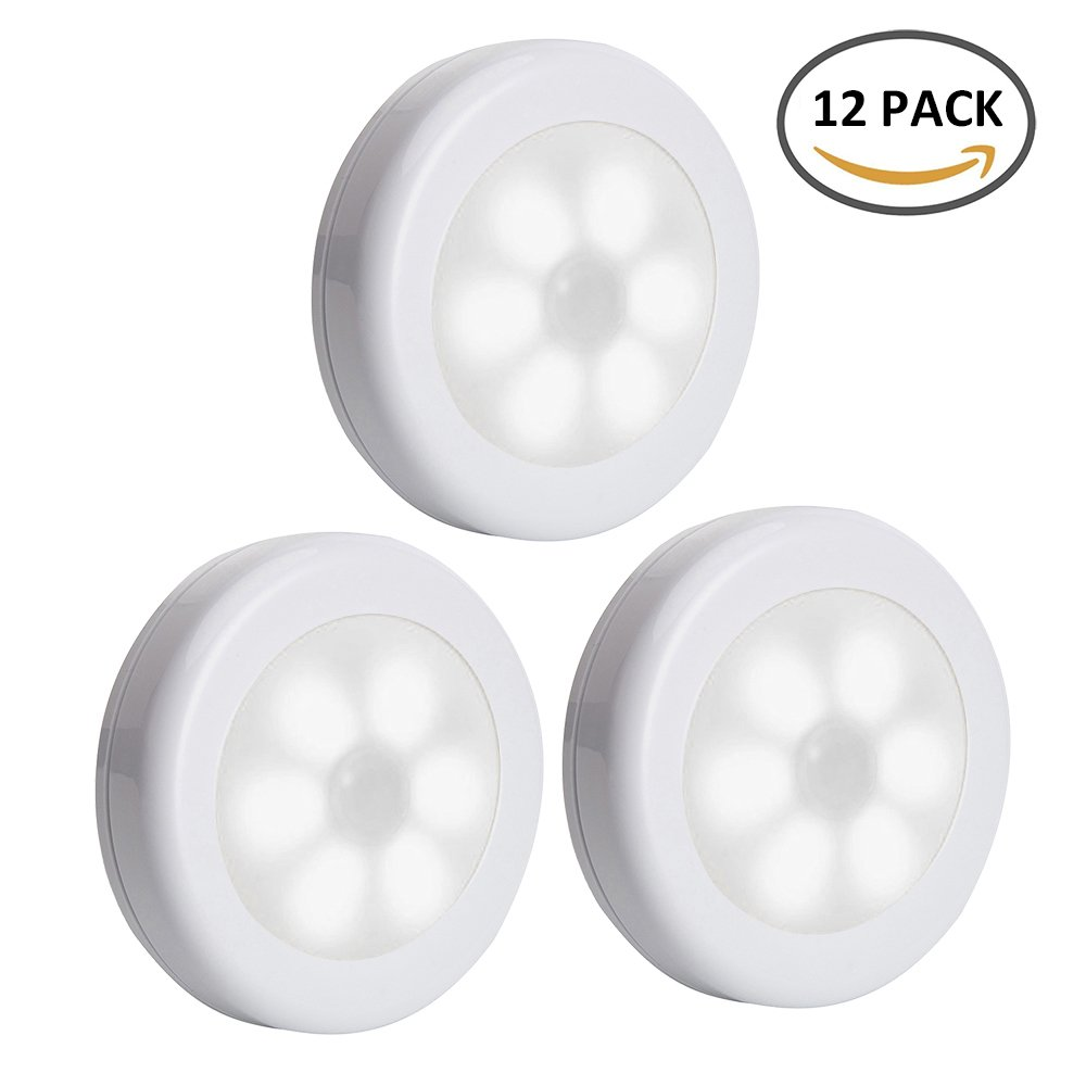 3 Pack Motion Sensor Light Indoor 6 LED Wireless Battery Operated LED Closet Night Light with 3M Adhesive Magnetic for Hallway Closet Wardrobe Stairs New_Soul