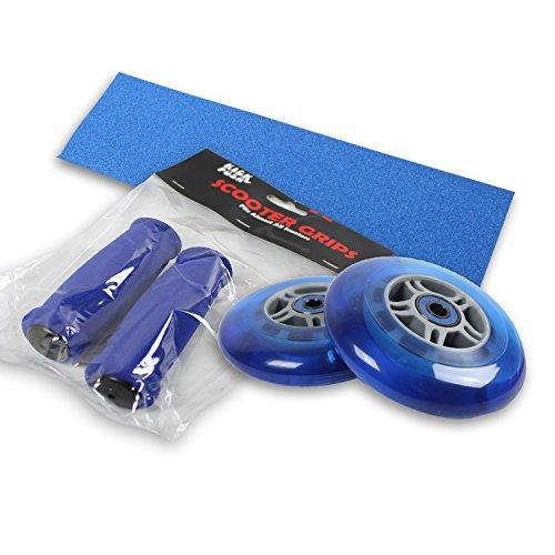 Kick Push Upgrade Pack for Razor Scooter Blue Wheels, Handle Grips, Griptape, Bearings