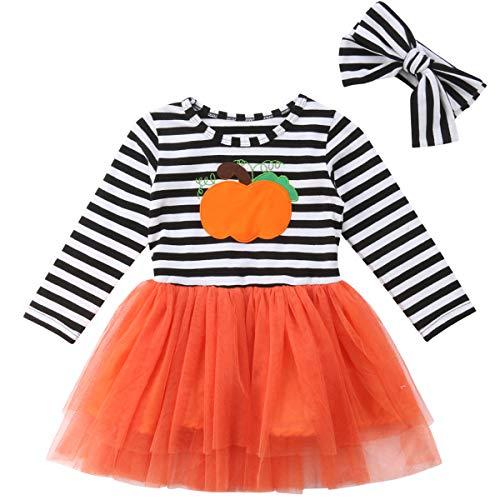 Baby Girl Halloween Costumes Pumpkin Striped Long Sleeve