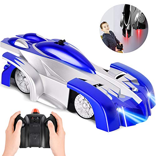 Remote Control Car ROOYABABY Gravity Defying RC Car Wall Climbing Car USB Rechargeable Mini 360 Rotating Stunt Vehicle Toy Car with Head and Rear LED Lights for Boys Adults Gifts Blue