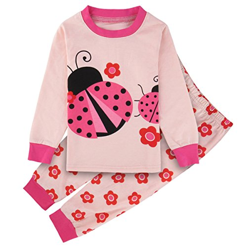 A&J Design Little Girls' Ladybug Cotton Pajamas Pjs Sets (4T, Ladybug) by A&J Design