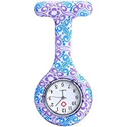 Top Plaza Women's Girls' Fashion Floral Nurse Clip-on Fob Brooch Silicone Jelly Hanging Pocket Watch