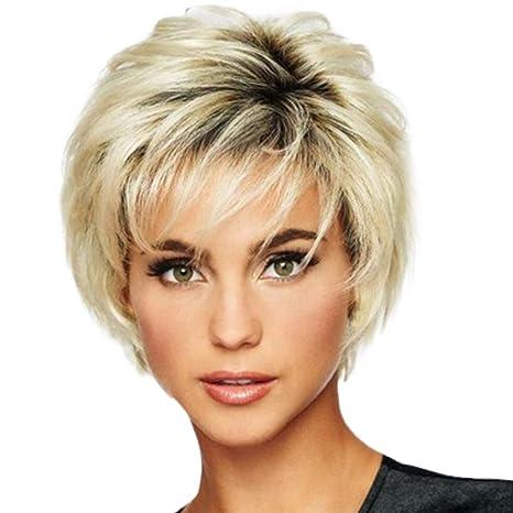 Mujeres Super Voluminosa liso peluca peluca de corto pelo liso caballo fibra refractario mezcla rubia Staresen