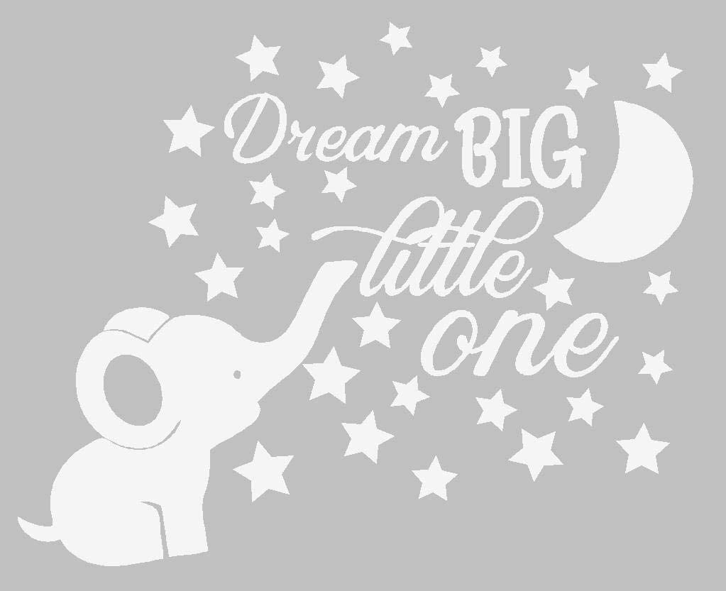 Dream Big Little One Lovely Elephant and Moon Stars Wall Decor Stickers for Kids Room Baby Girl Decals BA048 (White)