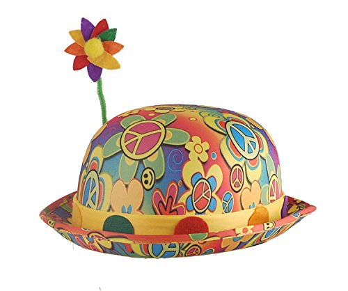 Henbrant Unisex Clown Bowler Hat in Multiple Colours with Flower - One (Derby With Flower Clown Hat)