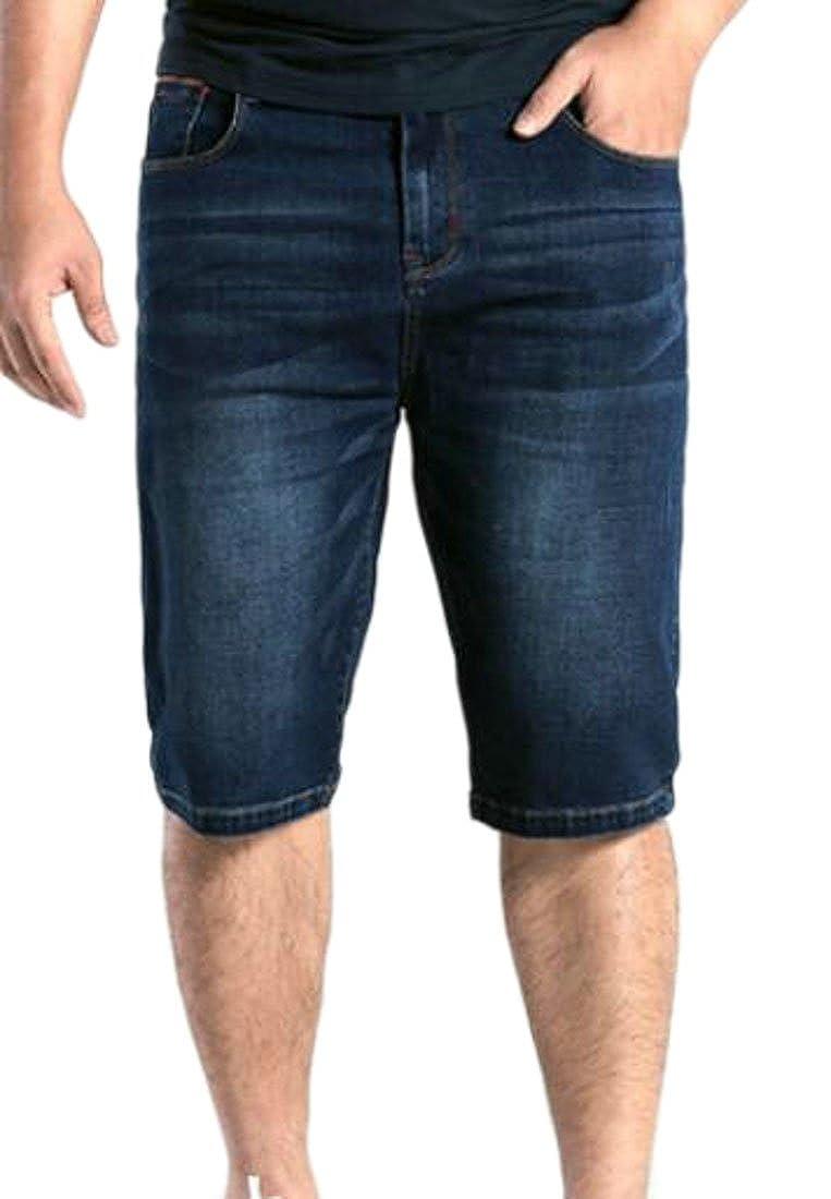 BLTR-Men Loose Cropped Jeans Plus Size Pockets Denim Cargo Shorts