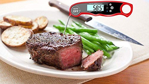 Meat Thermometer Digital Waterproof BBQ Grilling Nonstopfind Meat Thermometer Red Instant Read Food Thermometer with Calibration and Backlight Functions Cooking Thermometer For Water Tea Bathing Milk by Nonstopfind (Image #6)